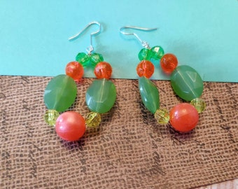 Western Boho Earrings, Sage Green And Bright Orange Colored, Big Chunky Dangling Teardrop Earrings
