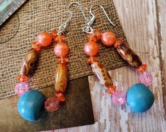 Bright Beautlful Boho Earrings, Drop Beaded Earrings, Blue Orange And A Little Sparkle