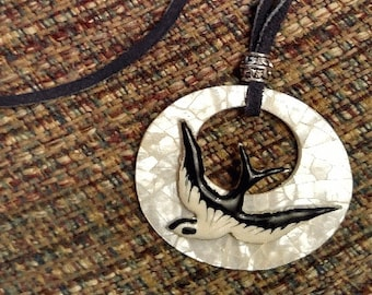 Moon Shadow  Black Leather Pendant Necklace