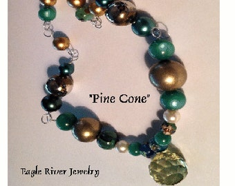 Pine Cone Natural Jade Stone Pendant Necklace