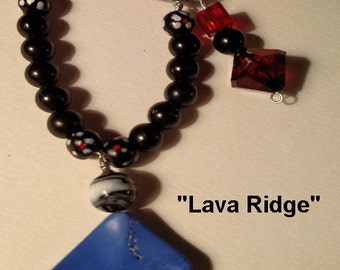 Lava Ridge  Red leather Necklace with Denim Blue Pendant