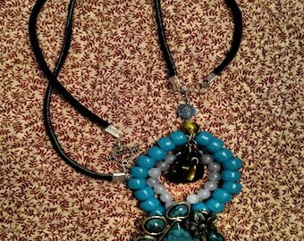 Turquoise Pendant Necklace Faux Stone Fun Handcrafted Pendant Great For Young Ladies