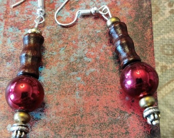 Earrings That Dangle You Beautlful, Woodsy Glamour, Chunky Beautiful Burgundy And Brown Dropped Earrings