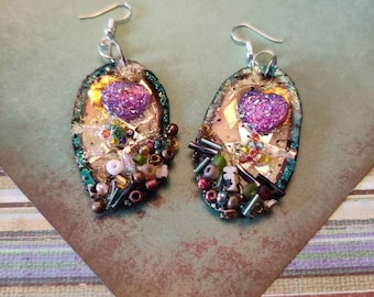Hand Crafted Oval Dropped Wire Earrings, Purple Heart, Multi Color, Reversable Earrings