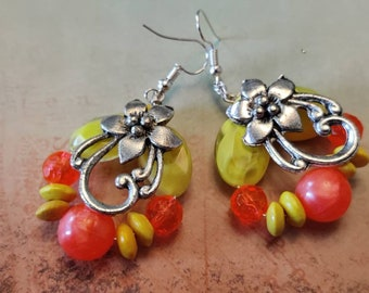 Charm Earrings, Bright Pretty Orange and Yellow Beaded Earrings, Women and Girls Earrings