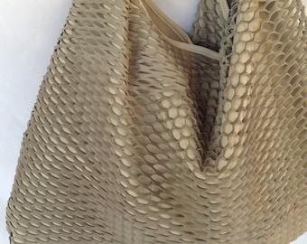 Stylish Leather Hobo Bag Beige Ecru Boho Tote Shoulder Special Large Medium OLA Olaccessories FREE SHIPPING