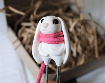 Pink bookmark hare clay Halloween miniature doll figure bunny woodland animal book marks fantastic polymer clay ornament gift for girlfriend