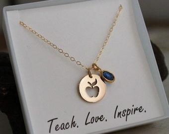 Teach - Love - Inspire - Teacher Necklace - Teacher Necklace with Birthstone - Gold