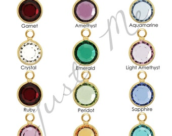 Add on Birthstones - Round Flat Gold Swarovski crystal Birthsone