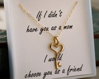 Mother's Day Necklace - Mother Daughter necklace - Sterling Silver or Gold Filled - Heart Key Charm