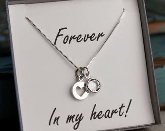 Forever in my heart - Remembrance Necklace - Memorial Necklace - Loss of Mother - Father (Sterling Silver)