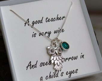 Teacher Necklace - Appreciation Necklace - Wise Owl Necklace with birthstone