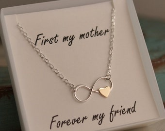Infinity charm with heart - Sterling Silver - First my mother, forever my friend