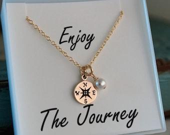 Graduation Necklace - Compass Necklace - Gold - Enjoy the Journey