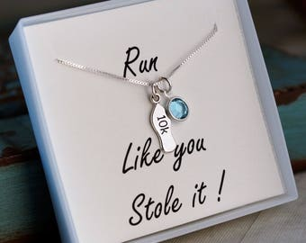 10K Necklace / Runners Necklace (Sterling Silver with Birthstone) / Run like you stole it / Running Jewelry