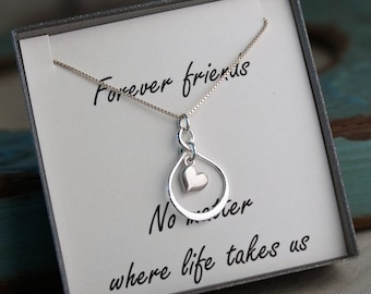 Friendship Necklace - Sterling Silver Infinity Necklace with heart - Forever Friends - Long distance