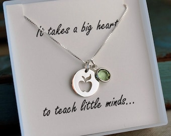 Teacher Necklace / Sterling Silver Teacher Necklace with Birthstone / It takes a big heart to teach little minds / Teacher appreciation