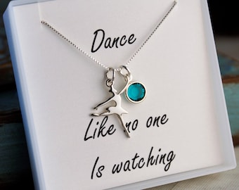 Ballerina Necklace with Birthstone - Dance Neckalce - Sterling Silver