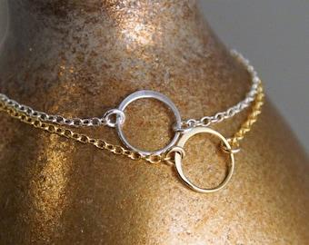 Circle of Life Bracelet / Friendship Bracelet / Layered Bracelet / 14K Gold Filled or Sterling Silver Bracelet / Dainty Open Circle Bracelet