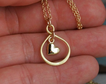 Friendship Necklace- Gold Plated Infinity Necklace with heart - Forever Friends - Long distance