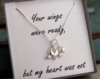 Infant Loss - Miscarriage Remembrance Necklace - Memorial Necklace - Mother of an Angel -  Your wings were ready, but my heart was not