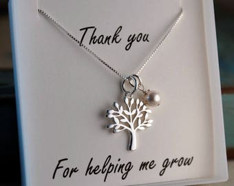Mentor Gift - Therapist - Coach -  Teacher appreciation - Sterling Silver Neckalce with Birthstone - Thank you for helping me grow