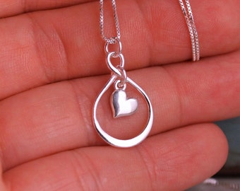 Friendship Necklace- Sterling Silver Infinity Necklace with heart - Forever Friends - Long distance