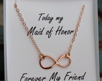 Infinity Necklace - Maid of Honor Necklace - Sterling Silver or Rose Gold or Gold Filled - Forever my Friend