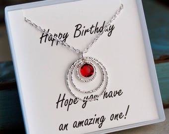 Birthstone Necklace - Sterling Silver Birthday neckalce - Birthday Gift