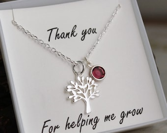 Therapist - Coach - Mentor Gift - Teacher - Sterling Silver Neckalce with Birthstone - Thank you for helping me grow
