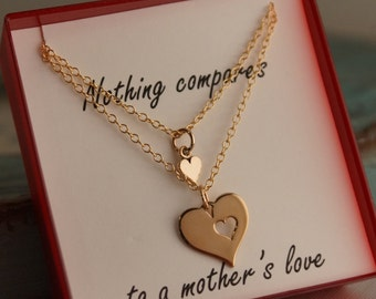 Mother Daughter Jewelry - Set of two -Gold Filled Mother's Day Neckalce - Gift for Mom - A Mother's Love