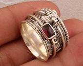 925 Sterling Silver Natural Red Garnet Spinner Ring, Handmade Honey Bee Meditation Ring Boho Worry Ring Valentines Day Gift, Etsy Cyber 2021