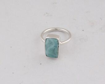Larimar Octogun  Natural Top Blue Stone Middle Finger Ring 925-Silver Sterling Ring Natural Larimar AAA+Quality Gemstone Ring Handmade Ring