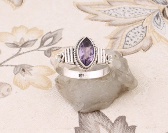 Purple Amethyst Quartz Handmade Jewellry 925 Sterling Silver Plated 5 Grams Ring Size 9.5 US Fantasy