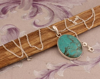Organic Tibetan Turquoise Pendant Sterling Silver Pendant Natural Tibetan Turquoise Rough Pendant,Gemstone Pendant Boho Jewelry Handmade