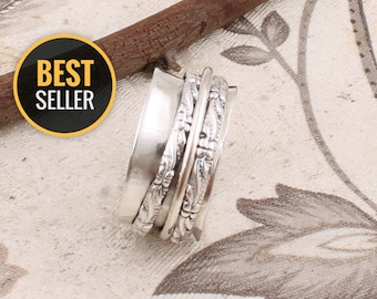 Fidget Ring 925 Sterling Silver Dual Tone Meditation Ring Anxiety Ring Minimalist Ring,Hammered Ring Spinner Ring Spinning Ring
