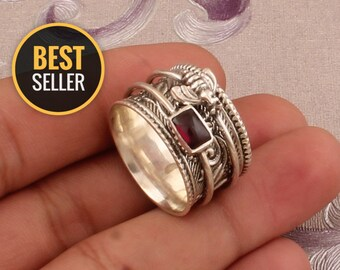 Meditation ring Couple ring Handmade ring Sterling silver ring Silver jewelry Love ring Red Garnet gemstone ring Adjustable ring