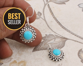 Natural Amazing Sleeping Beauty Turquoise AAA+Quality Gemstone Earring Cabochon Stone Boho Earring 925-Sterling Solid Silver Earring