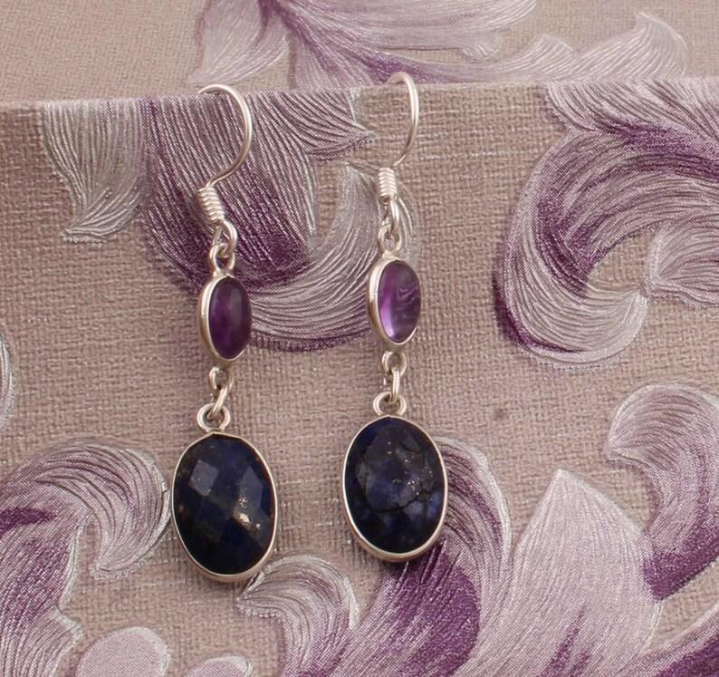 Combo Gemstone Earring Lapis+Amethyst Gemstone Earring 925-Sterling Silver Earring Big Size Earring Gift For Her Earring