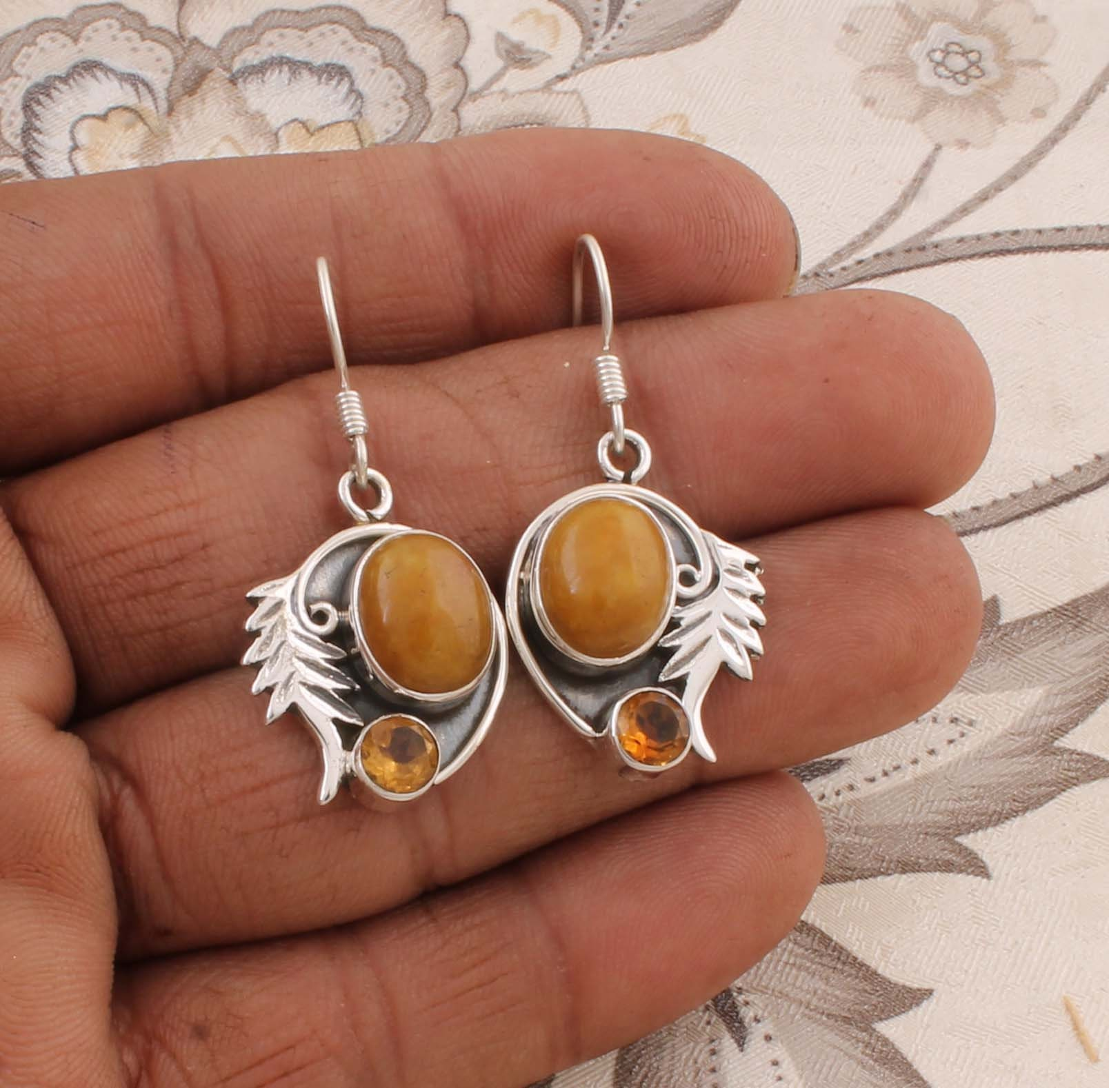 Natural Larimar Top Quality Gemstone Earring,Boho Earring 925-Sterling Silver Earring,Foral Earring,Antique Silver Earring Gift For Him