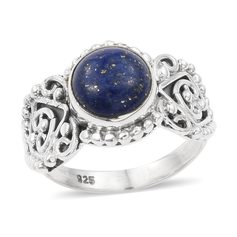 Natural Lapis AAA+Quality Gemstone Ring Round Stone Boho Ring 925-Sterling Solid Silver Ring,Middle Finger Ring Etsy Cyber Valentine/'s Day