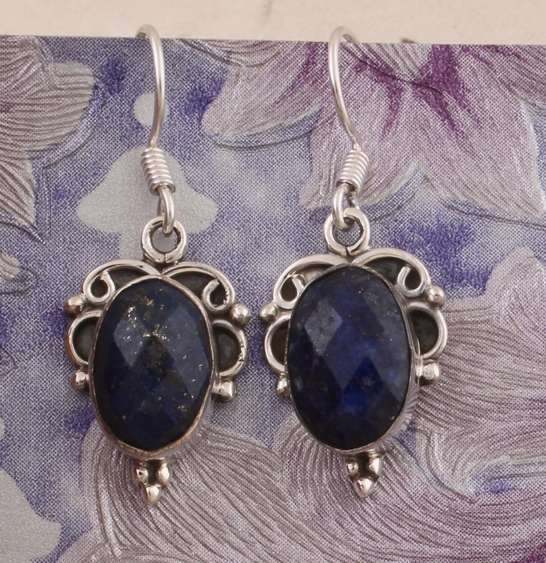 Natural Lapis Top Quality Gemstone Earring 925-Sterling Solid Silver Earring,Leaf Earring,Antique Silver Earring,Wedding Girls Earring