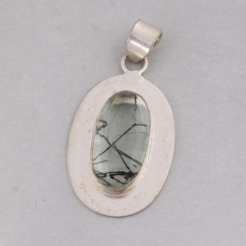 925 Sterling Silver Golden Black Rutile Gemstone Pendant Antique Silver ETSYCYBER2019