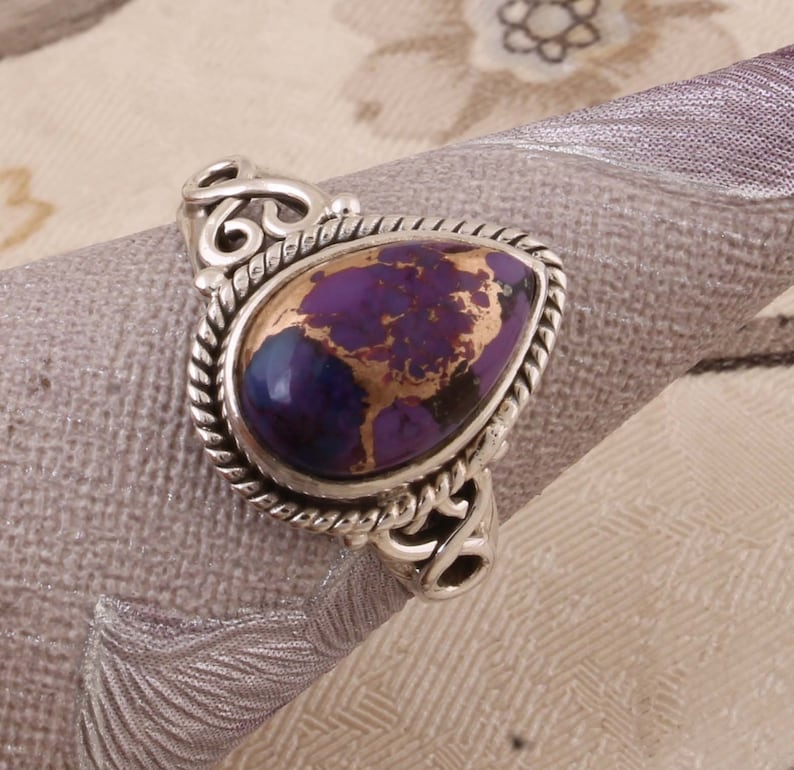Purple Copper Turquoise AAA+Quality Gemstone Ring,Engagement Ring 925-Antique Silver Pear Stone Ring,Sterling Silver Ring,Index Finger Ring