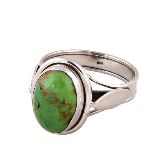 Natural Amazing Turquoise Top Quality Gemstone Ring Cabochon Oval Stone Ring 925-Sterling Silver Ring Middle Finger Ring Gift For Her