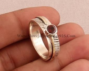 925 Sterling Silver & Brass Red Garnet Round Gemstone Rings, Designer Handmade Two Tone Band Ring, Women Wedding Rings, Valentine's Day Gift