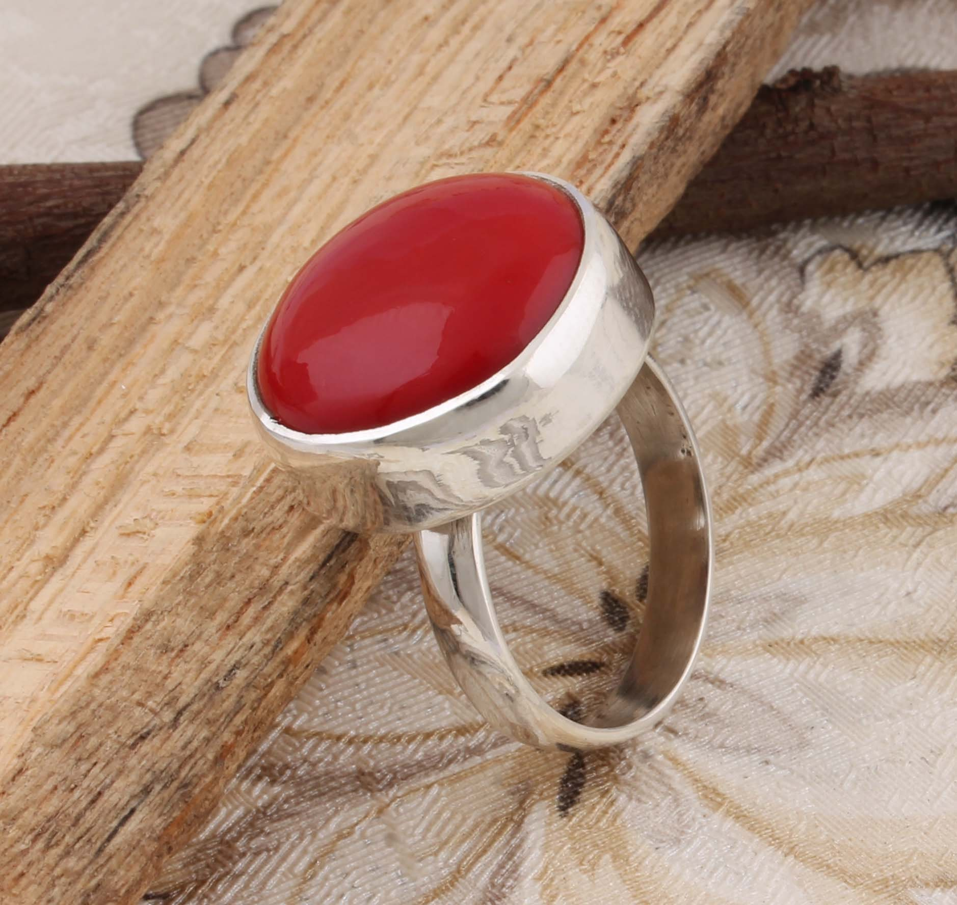 Amazing coral top quality gemstone ring 925-Antique image 0