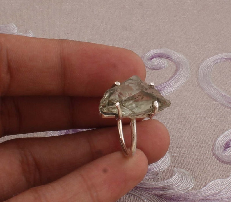 Raw Ring Amazing Green Amethyst Raw Gemstone Ring Ring 925-Sterling Solid Silver Ring,Antique Silver Ring,Index Finger Ring One-Of-Kind