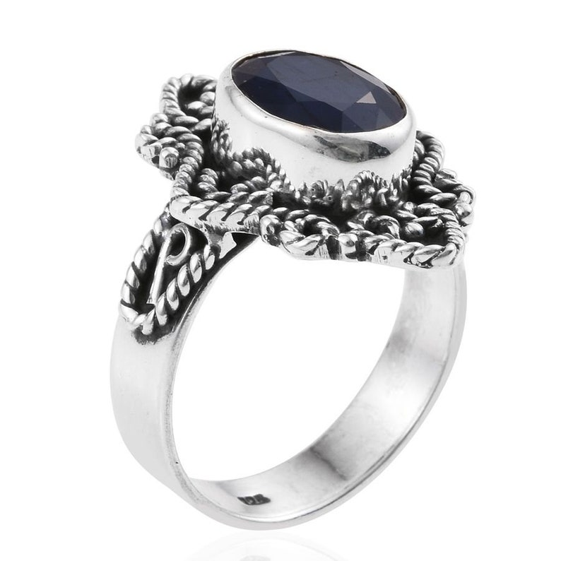 Natural Amazing With Black onyx Gemstone Ring Blue Color,Cut Stone Boho Ring 925-Adjustable Silver Ring Middle Finger Ring Etsy Cyber-2018