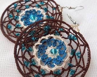 Crochet brown earrings, Crochet earrings, Crochet hoop earrings, Blue brown earrings, Boho style earrings, Crochet jewelry, Beaded earrings